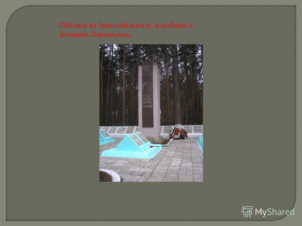 Обелиск на братской могиле, кладбище в Больших Перемерках.