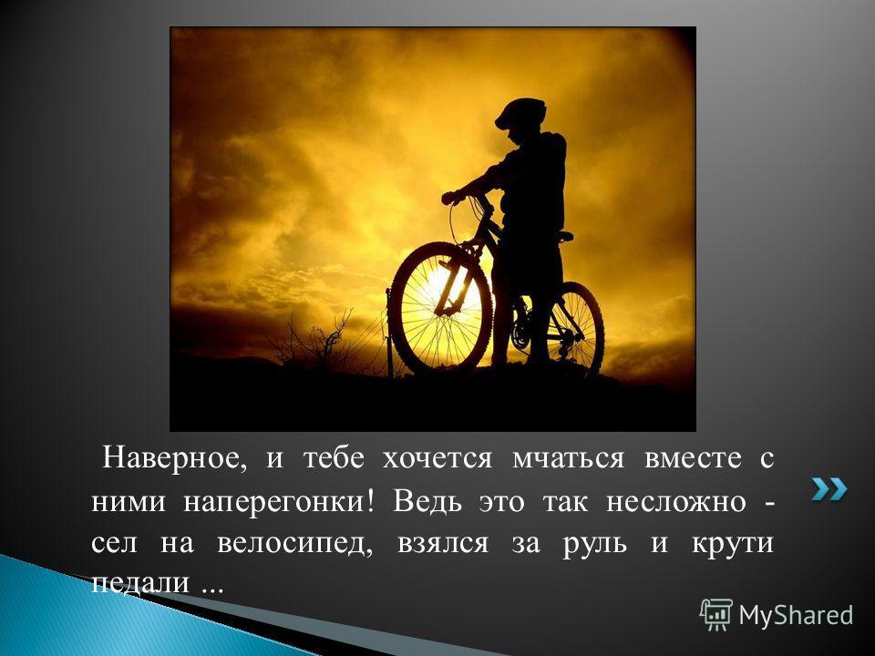 Наверное, и тебе хочется мчаться вместе с ними наперегонки! Ведь это так несложно - сел на велосипед, взялся за руль и крути педали...