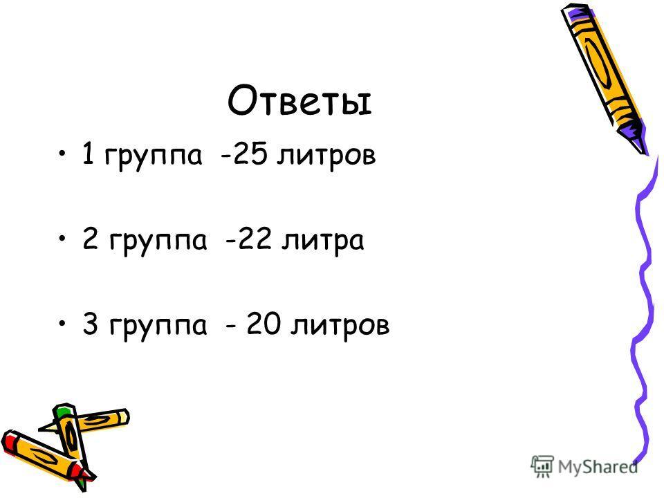 Ответы 1 группа -25 литров 2 группа -22 литра 3 группа - 20 литров