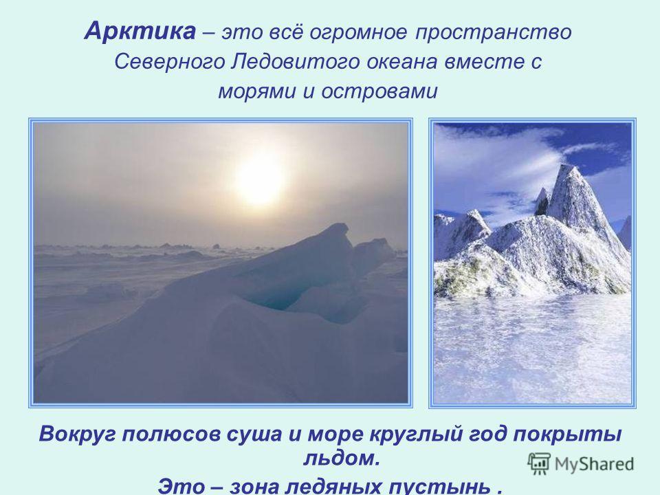 Арктика – это всё огромное пространство Северного Ледовитого океана вместе с морями и островами Вокруг полюсов суша и море круглый год покрыты льдом. Это – зона ледяных пустынь.