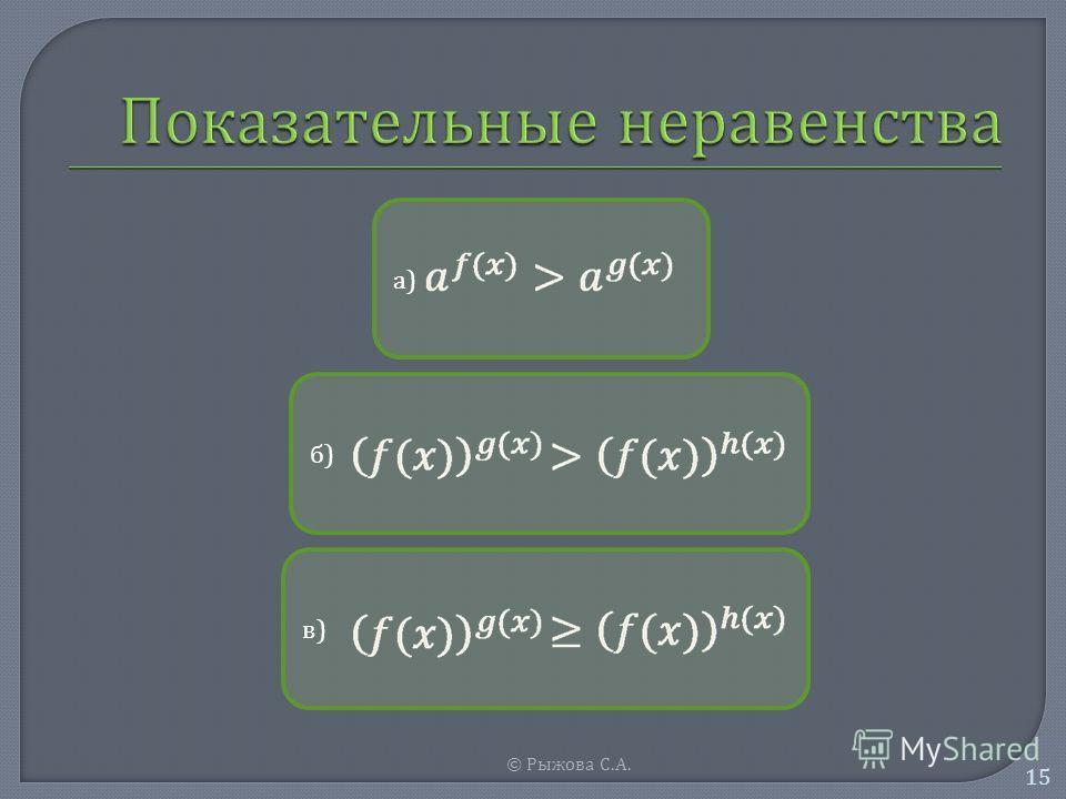 © Рыжова С. А. 15 а)а) б)б) в)в)