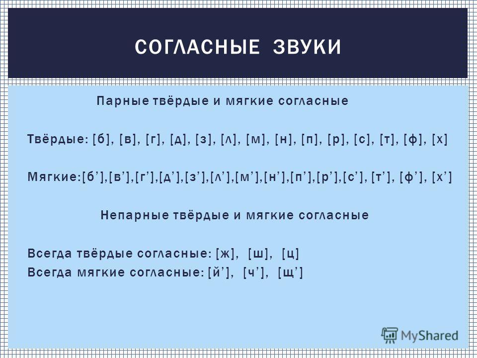 Парные твёрдые и мягкие согласные Твёрдые: [б], [в], [г], [д], [з], [л], [м], [н], [п], [р], [с], [т], [ф], [х] Мягкие:[б],[в],[г],[д],[з],[л],[м],[н],[п],[р],[с], [т], [ф], [х] Непарные твёрдые и мягкие согласные Всегда твёрдые согласные: [ж], [ш],