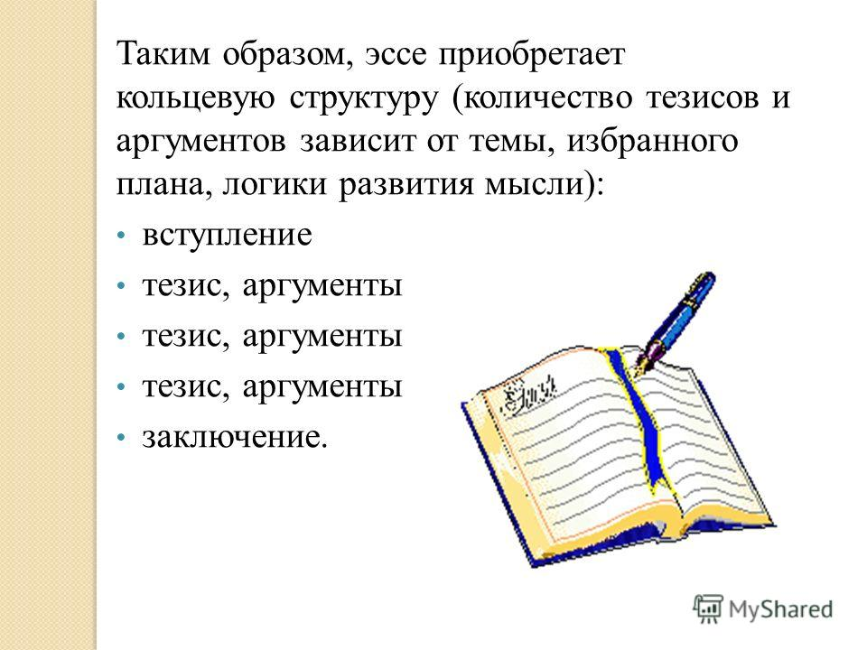 Таким образом, эссе приобретает кольцевую структуру (количество тезисов и аргументов зависит от темы, избранного плана, логики развития мысли): вступление тезис, аргументы заключение.