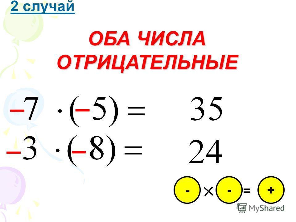 1 случай ОБА ЧИСЛА ПОЛОЖИТЕЛЬНЫЕ + = + +