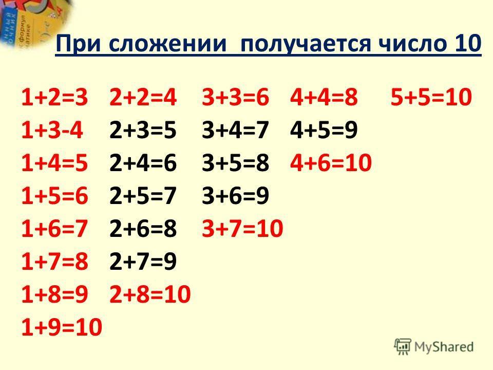 2+…..=4 5+…..=10 3+…..=6 4+…..=8 10-…..=5 4-…..=2 8-…..=4 6-…..=3