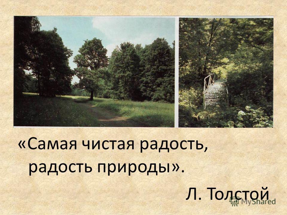 «Самая чистая радость, радость природы». Л. Толстой