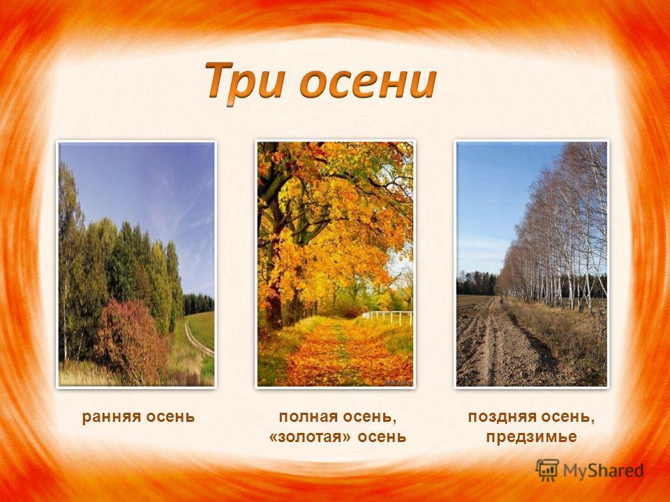 ранняя осеньполная осень, «золотая» осень поздняя осень, предзимье