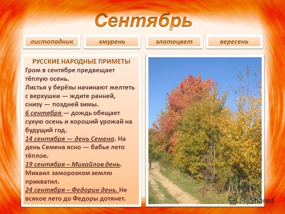 РУССКИЕ НАРОДНЫЕ ПРИМЕТЫ Гром в сентябре предвещает тёплую осень. Листья у берёзы начинают желтеть с верхушки ждите ранней, снизу поздней зимы. 6 сентября дождь обещает сухую осень и хороший урожай на будущий год. 14 сентября день Семена. На день Сем