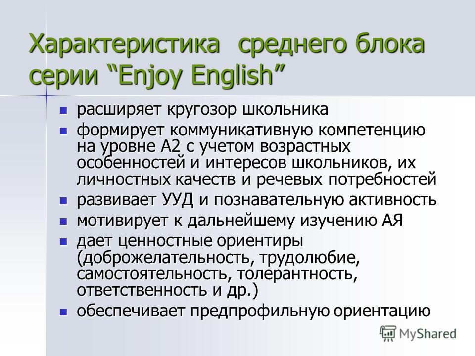 Характеристика среднего блока серии Enjoy English расширяет кругозор школьника расширяет кругозор школьника формирует коммуникативную компетенцию на уровне А2 с учетом возрастных особенностей и интересов школьников, их личностных качеств и речевых по