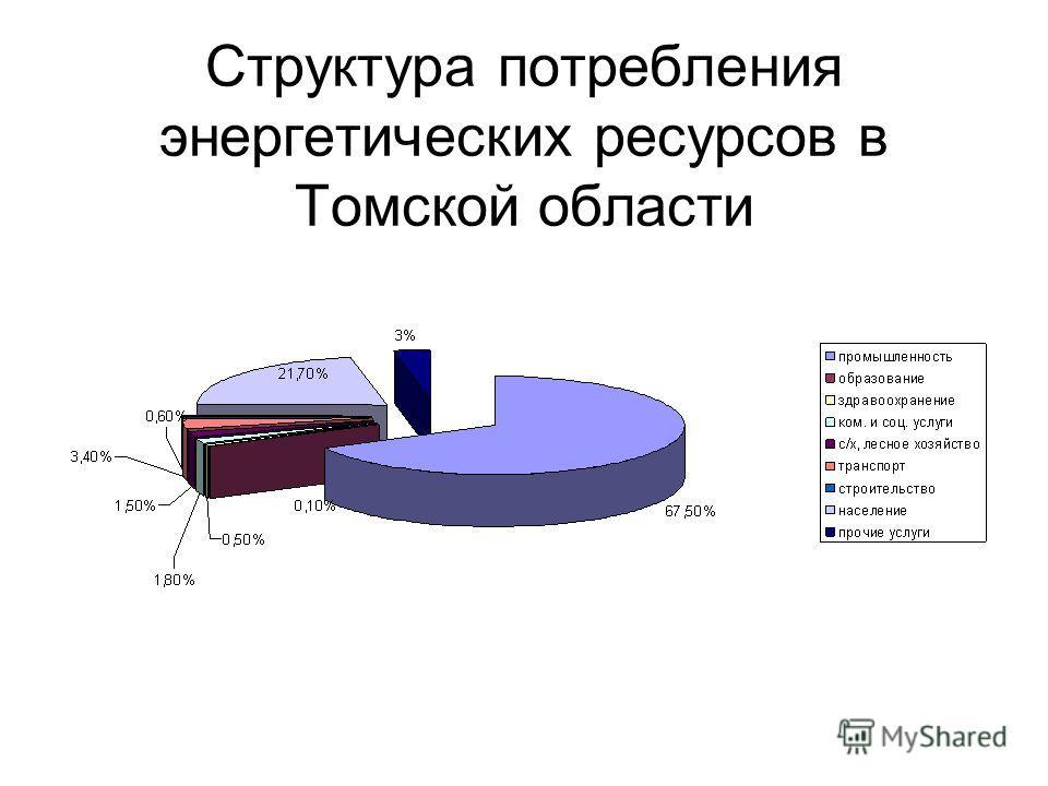Структура потребления энергетических ресурсов в Томской области