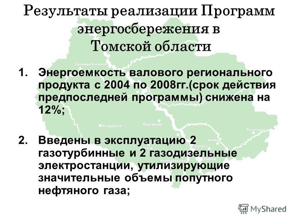 Результаты реализации Программ энергосбережения в Томской области 1.Энергоемкость валового регионального продукта с 2004 по 2008гг.(срок действия предпоследней программы) снижена на 12%; 2.Введены в эксплуатацию 2 газотурбинные и 2 газодизельные элек