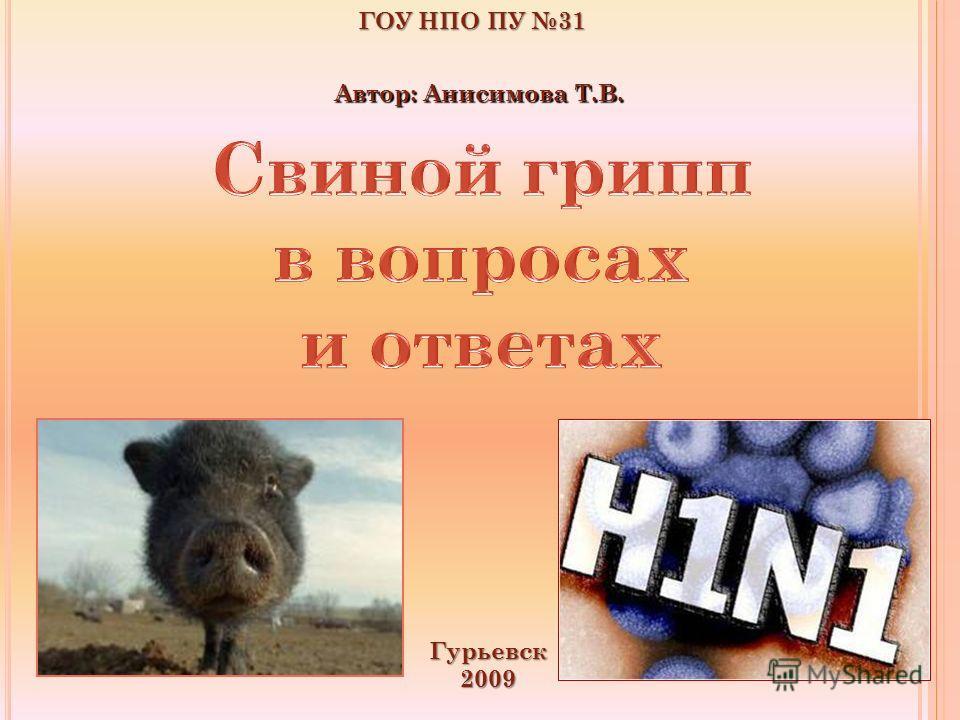 ГОУ НПО ПУ 31 Гурьевск2009 Автор: Анисимова Т.В.