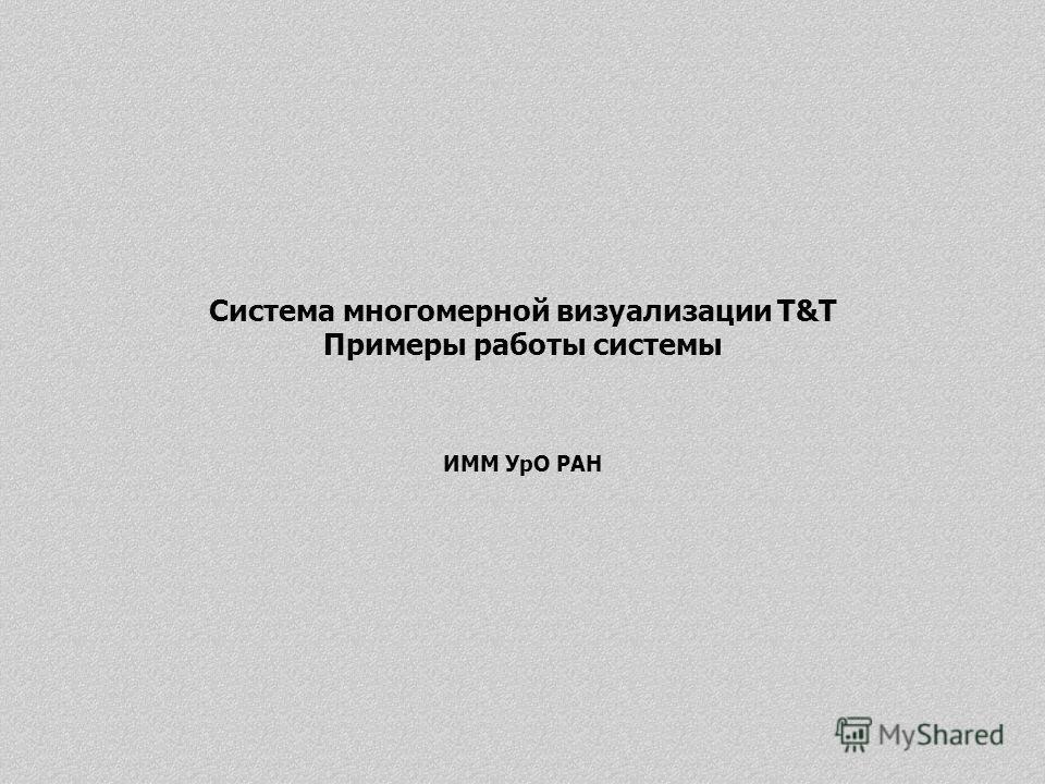 Система многомерной визуализации T&T Примеры работы системы ИММ УрО РАН