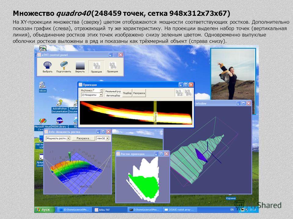 Множество quadro40 (248459 точек, сетка 948x312x73x67) На XY-проекции множества (сверху) цветом отображаются мощности соответствующих ростков. Дополнительно показан график (слева), отражающий ту же характеристику. На проекции выделен набор точек (вер