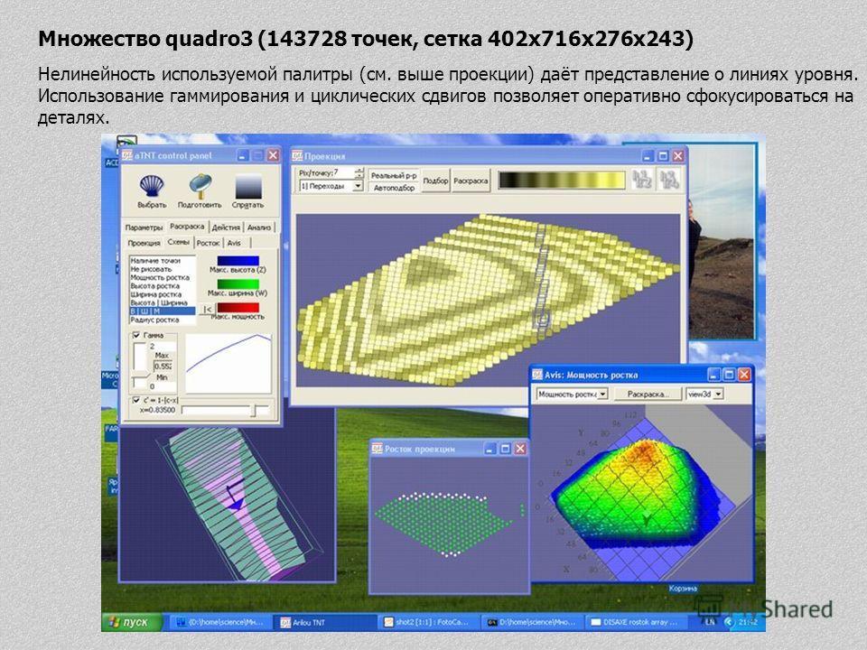 Множество quadro3 (143728 точек, сетка 402x716x276x243) Нелинейность используемой палитры (см. выше проекции) даёт представление о линиях уровня. Использование гаммирования и циклических сдвигов позволяет оперативно сфокусироваться на деталях.