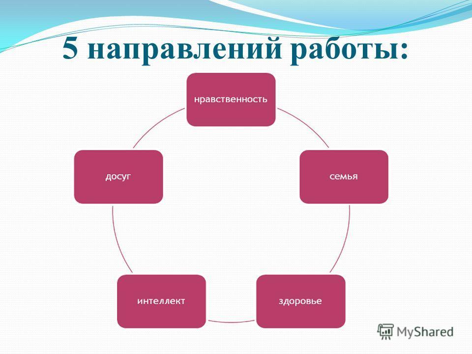 5 направлений работы: