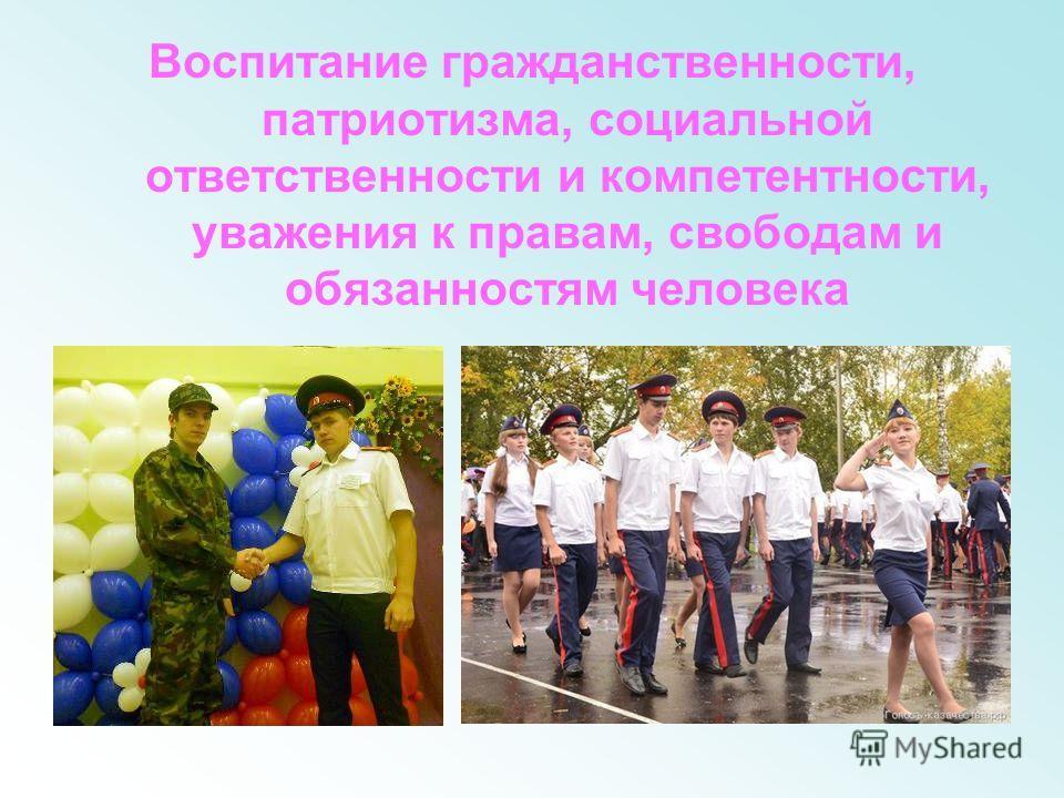 Воспитание гражданственности, патриотизма, социальной ответственности и компетентности, уважения к правам, свободам и обязанностям человека