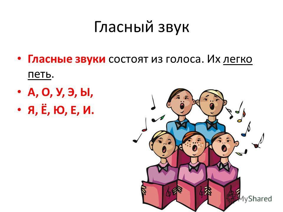 Гласный звук Гласные звуки состоят из голоса. Их легко петь. А, О, У, Э, Ы, Я, Ё, Ю, Е, И.