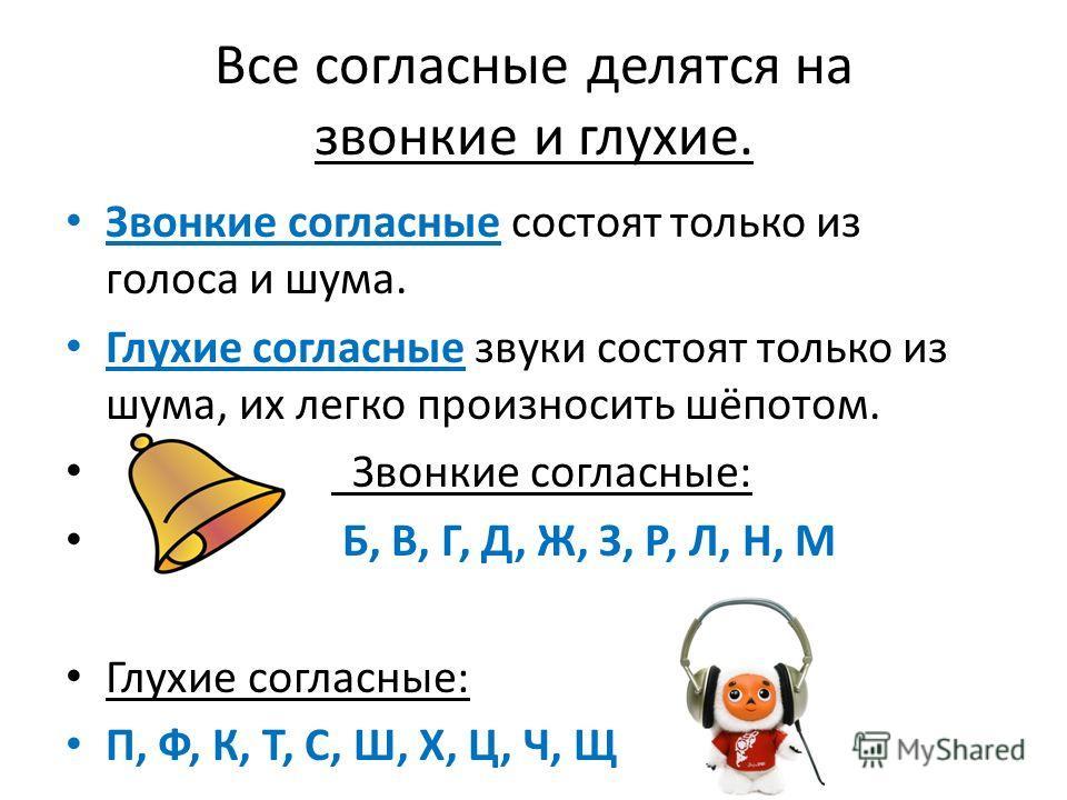 Все согласные делятся на звонкие и глухие. Звонкие согласные состоят только из голоса и шума. Глухие согласные звуки состоят только из шума, их легко произносить шёпотом. Звонкие согласные: Б, В, Г, Д, Ж, З, Р, Л, Н, М Глухие согласные: П, Ф, К, Т, С