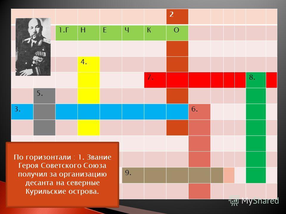 2 1.ГНЕЧК О 4. 7. 8. 5. 3. 6. 9. По горизонтали : 1. Звание Героя Советского Союза получил за организацию десанта на северные Курильские острова.