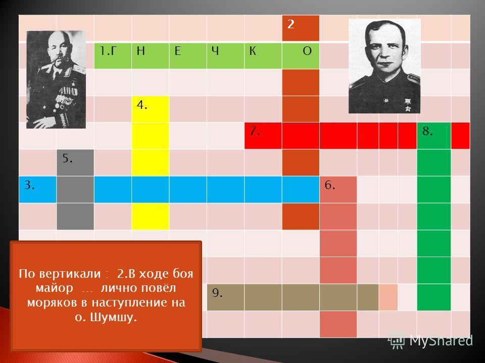 2 1.ГНЕЧК О 4. 7. 8. 5. 3. 6. 9. По вертикали : 2.В ходе боя майор … лично повёл моряков в наступление на о. Шумшу.
