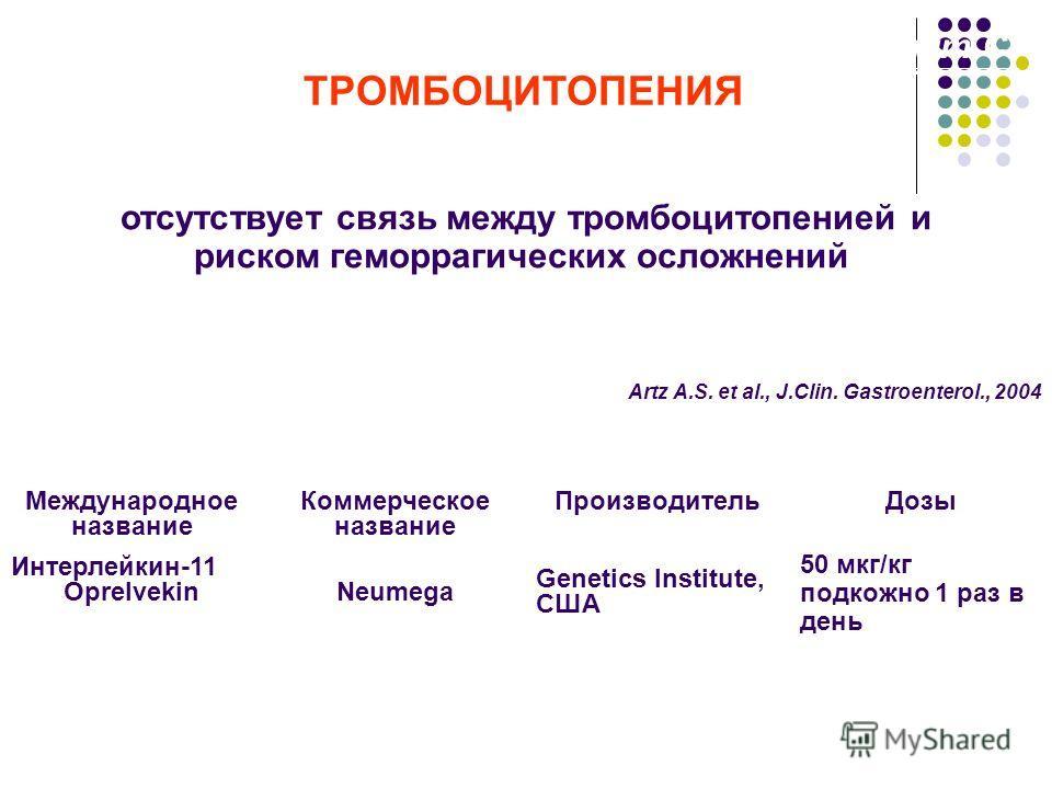 Хронический гепатит С ТРОМБОЦИТОПЕНИЯ отсутствует связь между тромбоцитопенией и риском геморрагических осложнений интерлейкин-11 - фактор роста мегакариоцитов Международное название Коммерческое название ПроизводительДозы Интерлейкин-11 OprelvekinNe