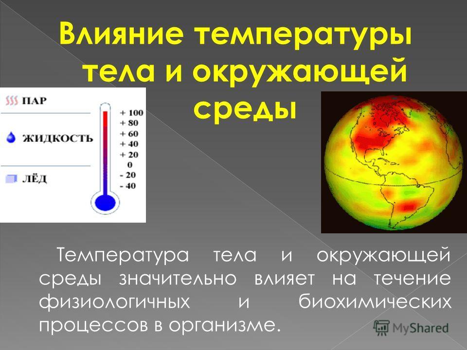 Влияние температуры тела и окружающей среды Температура тела и окружающей среды значительно влияет на течение физиологичных и биохимических процессов в организме.