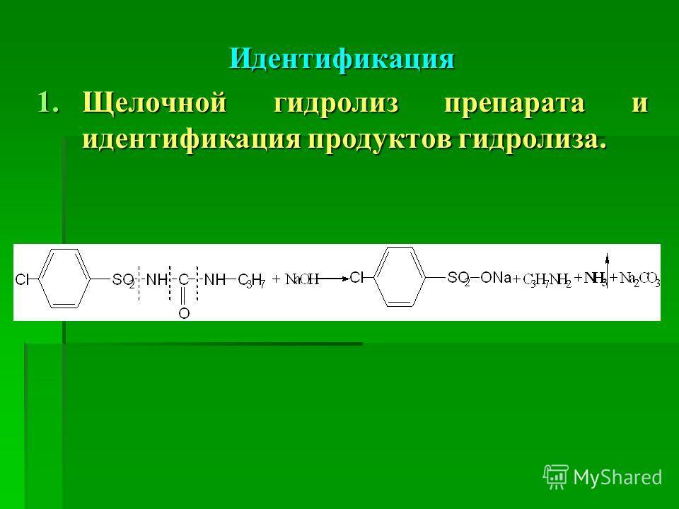 Идентификация 1.Щелочной гидролиз препарата и идентификация продуктов гидролиза.