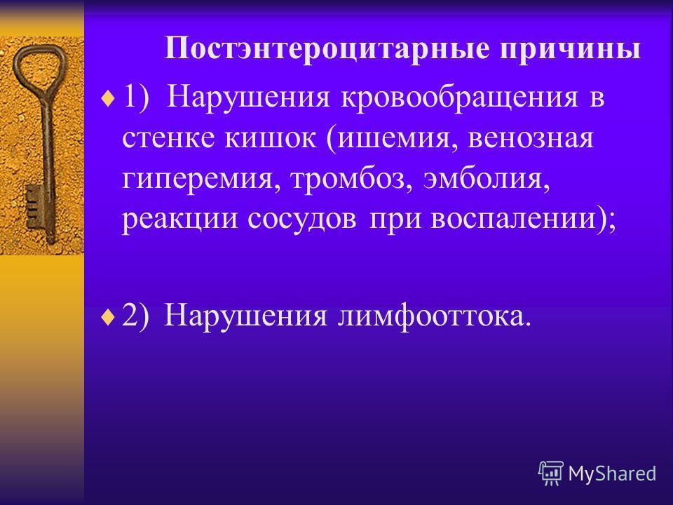 Постэнтероцитарные причины 1) Нарушения кровообращения в стенке кишок (ишемия, венозная гиперемия, тромбоз, эмболия, реакции сосудов при воспалении); 2)Нарушения лимфооттока.