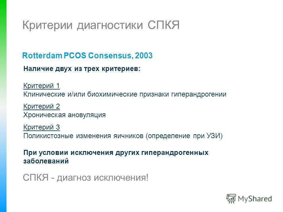 Критерии диагностики СПКЯ Rotterdam PCOS Consensus, 2003 Наличие двух из трех критериев: Критерий 1 Клинические и/или биохимические признаки гиперандрогении Критерий 2 Хроническая ановуляция Критерий 3 Поликистозные изменения яичников (определение пр