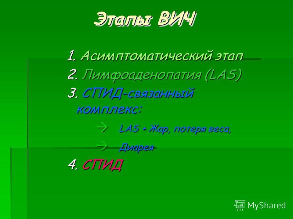 Этапы ВИЧ 1. Асимптоматический этап 2. Лимфоаденопатия (LAS) 3. СПИД-связанный комплекс: à LAS + Жар, потеря веса, à Диарея 4. СПИД