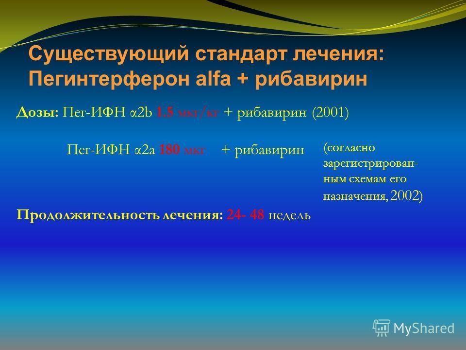 Существующий стандарт лечения: Пегинтерферон alfa + рибавирин Дозы: Пег-ИФН α2b 1.5 мкг/кг + рибавирин (2001) Пег-ИФН α2a 180 мкг + рибавирин Продолжительность лечения: 24- 48 недель (согласно зарегистрирован- ным схемам его назначения, 2002 )