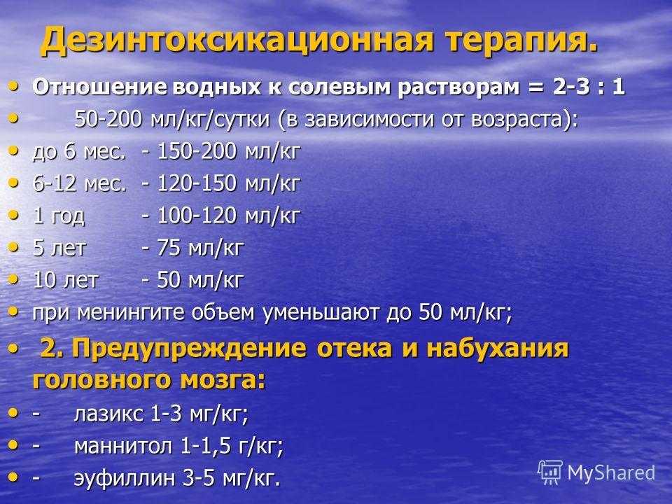 Дезинтоксикационная терапия. Отношение водных к солевым растворам = 2-3 : 1 Отношение водных к солевым растворам = 2-3 : 1 50-200 мл/кг/сутки (в зависимости от возраста): 50-200 мл/кг/сутки (в зависимости от возраста): до 6 мес. - 150-200 мл/кг до 6