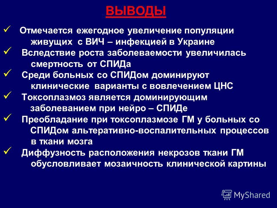 ВЫВОДЫ Отмечается ежегодное увеличение популяции живущих с ВИЧ – инфекцией в Украине Вследствие роста заболеваемости увеличилась смертность от СПИДа Среди больных со СПИДом доминируют клинические варианты с вовлечением ЦНС Токсоплазмоз является домин