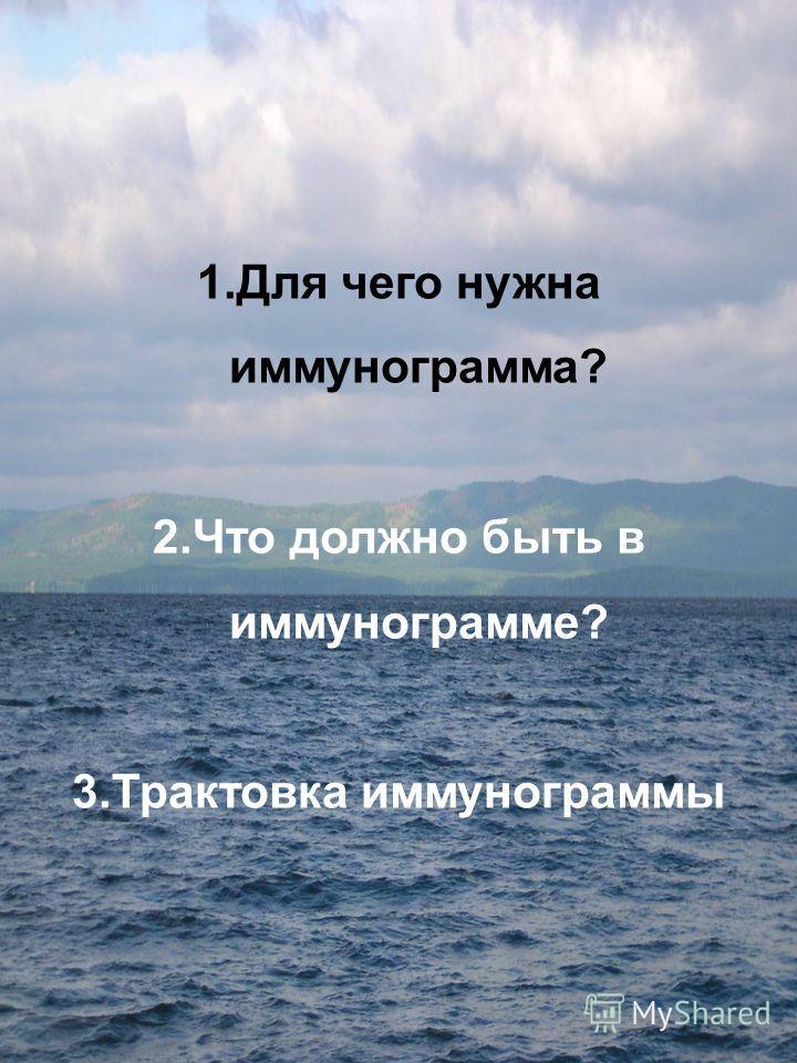 1.Для чего нужна иммунограмма? 2.Что должно быть в иммунограмме? 3.Трактовка иммунограммы
