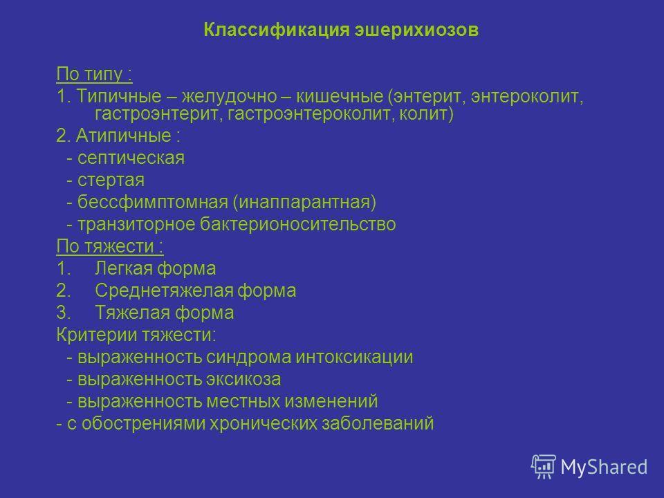Классификация эшерихиозов По типу : 1. Типичные – желудочно – кишечные (энтерит, энтероколит, гастроэнтерит, гастроэнтероколит, колит) 2. Атипичные : - септическая - стертая - бессфимптомная (инаппарантная) - транзиторное бактерионосительство По тяже