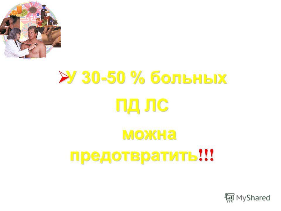 У 30-50 % больных У 30-50 % больных ПД ЛС можна предотвратить !!! можна предотвратить !!!