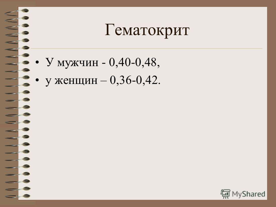 Гематокрит У мужчин - 0,40-0,48, у женщин – 0,36-0,42.