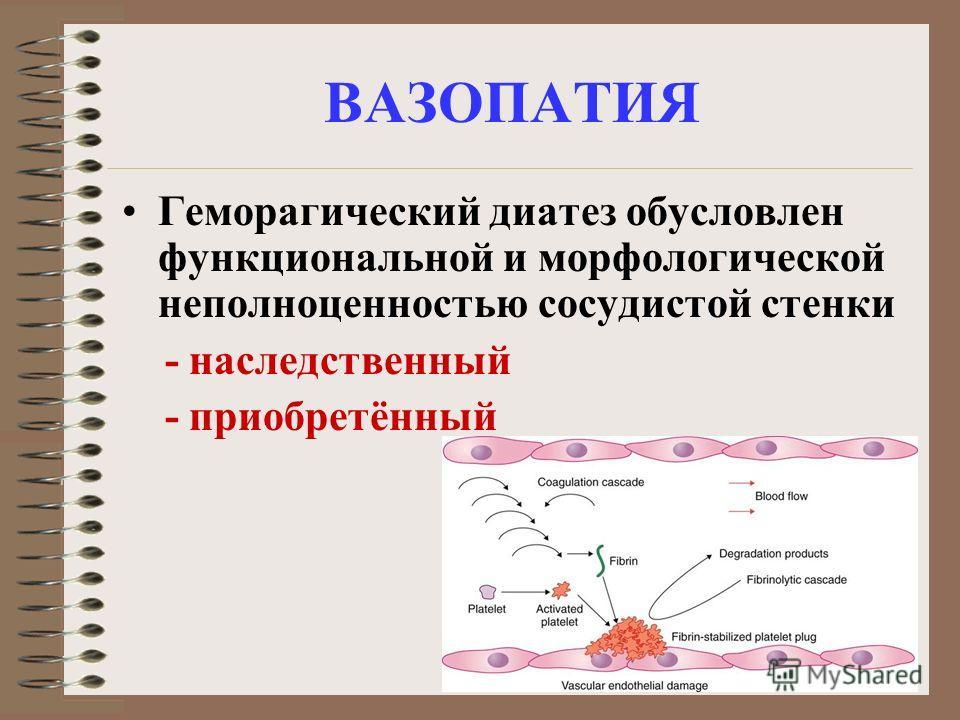 ВАЗОПАТИЯ Геморагический диатез обусловлен функциональной и морфологической неполноценностью сосудистой стенки - наследственный - приобретённый