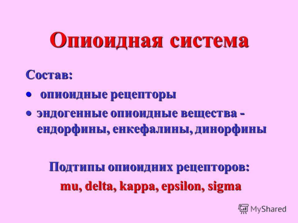 Опиоидная система Состав: опиоидные рецепторы опиоидные рецепторы эндогенные опиоидные вещества - ендорфины, енкефалины, динорфины эндогенные опиоидные вещества - ендорфины, енкефалины, динорфины Подтипы опиоидних рецепторов: mu, delta, kappa, epsilo