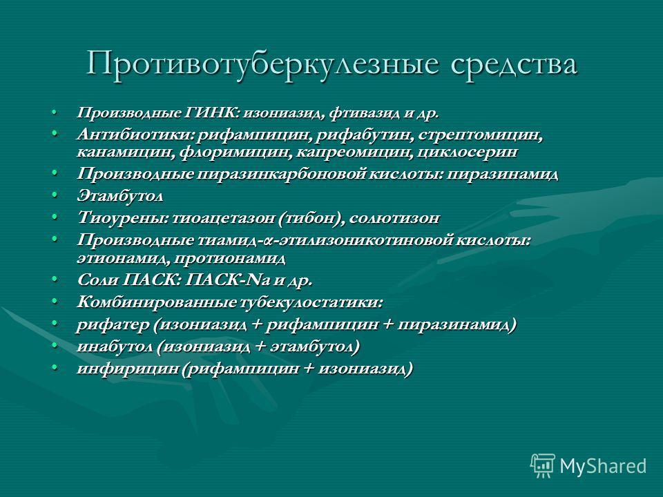 Противотуберкулезные средства Производные ГИНК: изониазид, фтивазид и др.Производные ГИНК: изониазид, фтивазид и др. Антибиотики: рифампицин, рифабутин, стрептомицин, канамицин, флоримицин, капреомицин, циклосеринАнтибиотики: рифампицин, рифабутин, с