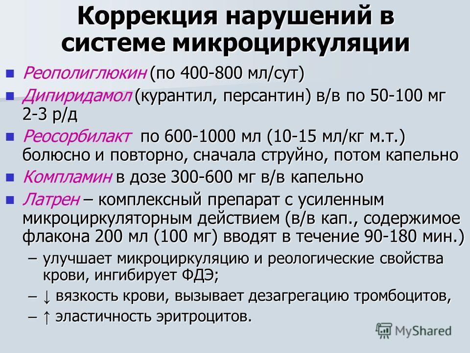 Коррекция нарушений в системе микроциркуляции (по 400-800 мл/сут) Реополиглюкин (по 400-800 мл/сут) (курантил, персантин) в/в по 50-100 мг 2-3 р/д Дипиридамол (курантил, персантин) в/в по 50-100 мг 2-3 р/д по 600-1000 мл (10-15 мл/кг м.т.) болюсно и