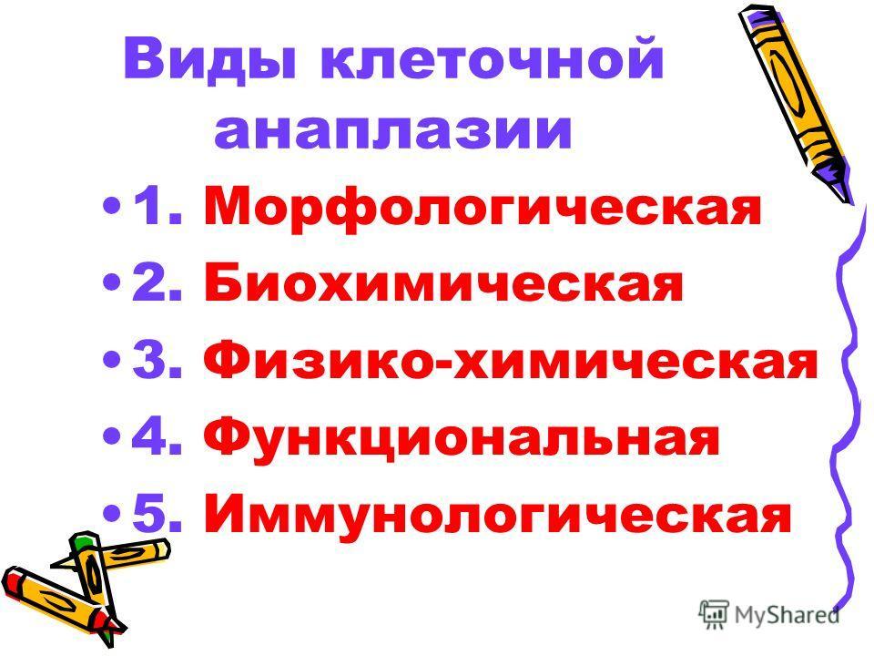 Виды клеточной анаплазии 1. Морфологическая 2. Биохимическая 3. Физико-химическая 4. Функциональная 5. Иммунологическая