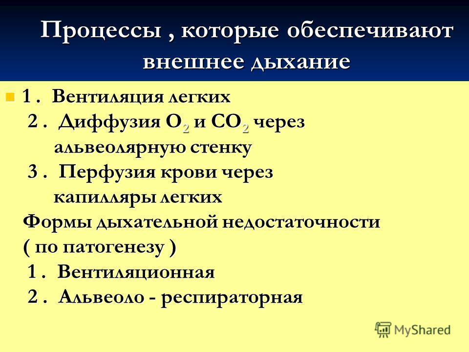 Процессы, которые обеспечивают внешнее дыхание 1. Вентиляция легких 2. Диффузия О 2 и СО 2 через альвеолярную стенку 3. Перфузия крови через капилляры легких Формы дыхательной недостаточности ( по патогенезу ) 1. Вентиляционная 2. Альвеоло - респират