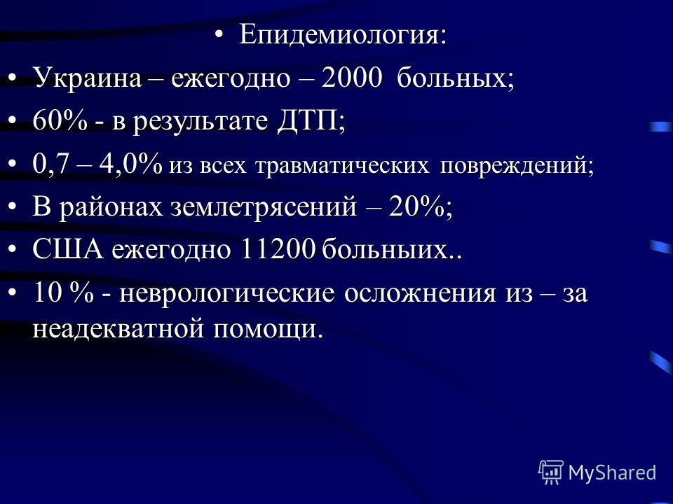 Епидемиология:Епидемиология: Украина – ежегодно – 2000 больных;Украина – ежегодно – 2000 больных; 60% - в результате ДТП;60% - в результате ДТП; 0,7 – 4,0% из всех травматических повреждений;0,7 – 4,0% из всех травматических повреждений; В районах зе