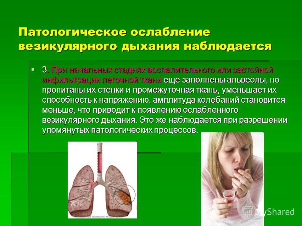 Патологическое ослабление везикулярного дыхания наблюдается 3. При начальных стадиях воспалительного или застойной инфильтрации легочной ткани еще заполнены альвеолы, но пропитаны их стенки и промежуточная ткань, уменьшает их способность к напряжению