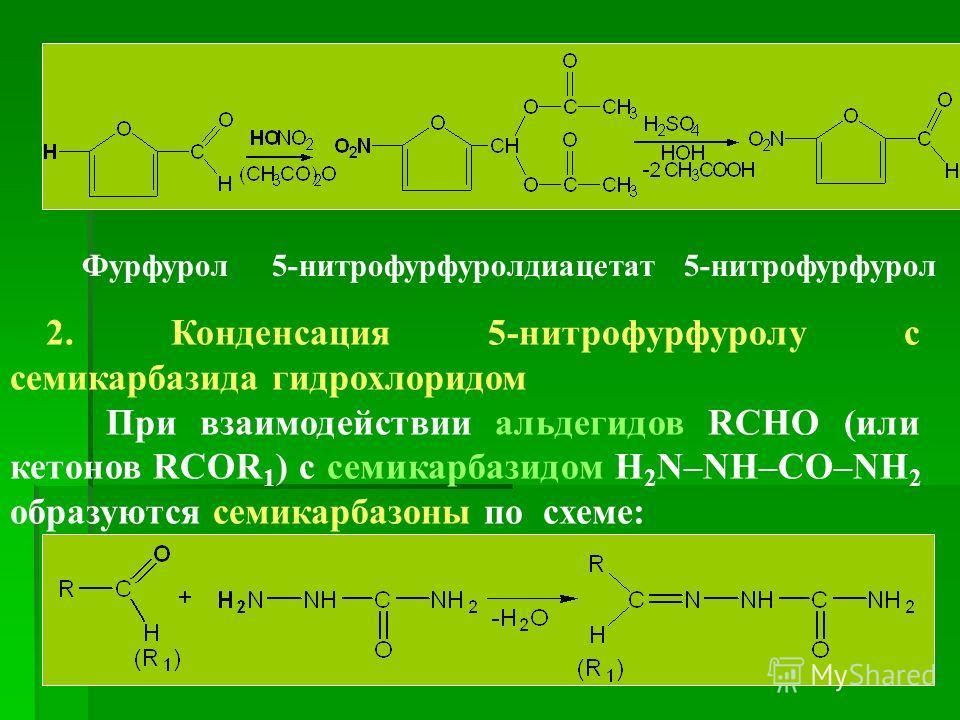 Фурфурол 5-нитрофурфуролдиацетат 5-нитрофурфурол 2. Конденсация 5-нитрофурфуролу с семикарбазида гидрохлоридом При взаимодействии альдегидов RCHO (или кетонов RCOR 1 ) с семикарбазидом H 2 N–NH–CO–NH 2 образуются семикарбазоны по схеме: