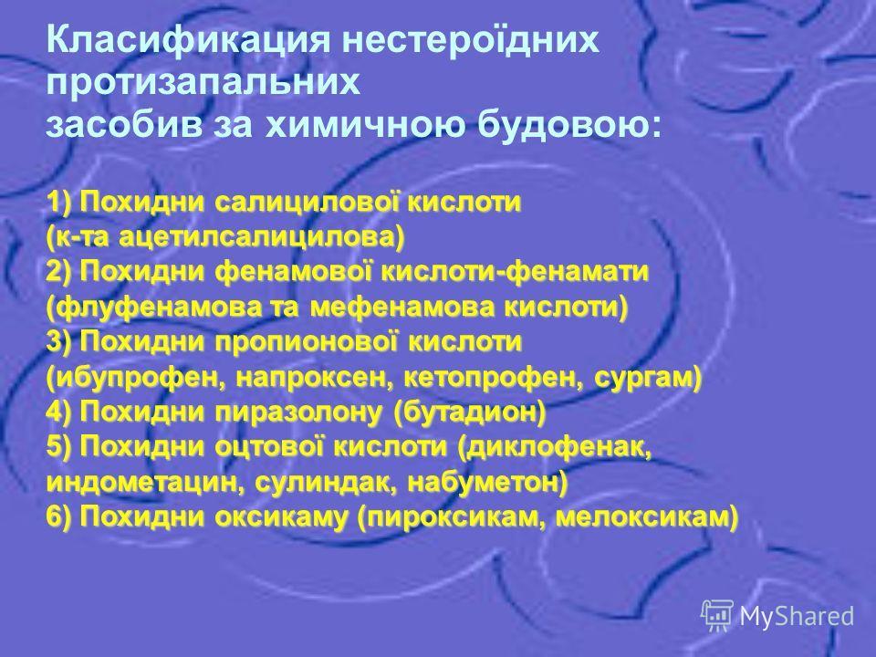 Класификация нестероїдних протизапальних засобив за химичною будовою: 1) Похидни салицилової кислоти (к-та ацетилсалицилова) 2) Похидни фенамової кислоти-фенамати (флуфенамова та мефенамова кислоти) 3) Похидни пропионової кислоти (ибупрофен, напроксе
