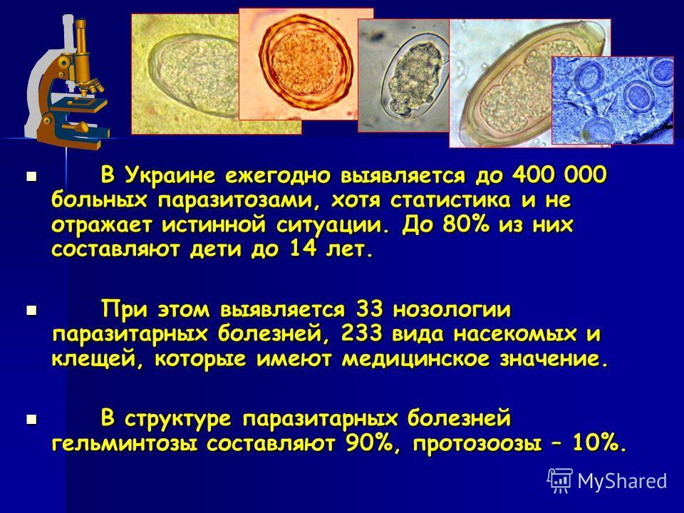 В Украине ежегодно выявляется до 400 000 больных паразитозами, хотя статистика и не отражает истинной ситуации. До 80% из них составляют дети до 14 лет. В Украине ежегодно выявляется до 400 000 больных паразитозами, хотя статистика и не отражает исти