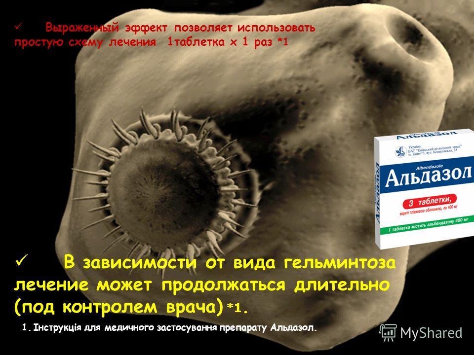 Выраженный эффект позволяет использовать простую схему лечения 1таблетка х 1 раз *1 В зависимости от вида гельминтоза лечение может продолжаться длительно (под контролем врача) *1. 1.Інструкція для медичного застосування препарату Альдазол.